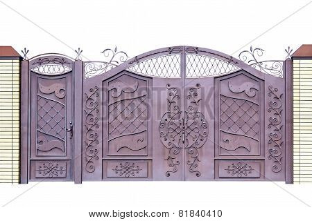 Forged Gates And Door For Building By Ornament.