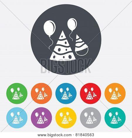 Party hat sign icon. Birthday celebration symbol