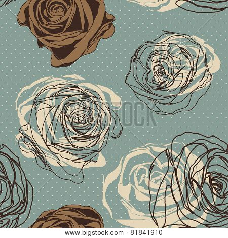 Vintage Floral Seamless Pattern With Hand Drawn Roses