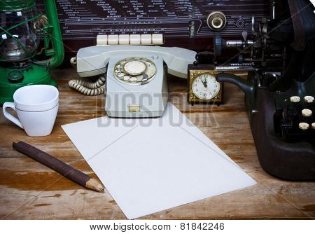 Still Life With Retro Typewriter, Alarm Clock, Telephone And Old Things