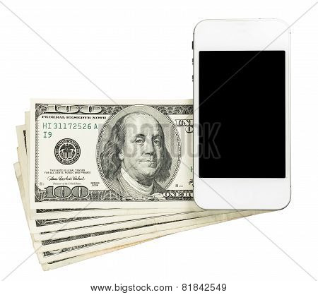 Smartphone Lying On Banknotes Of United States, Isolated On A White