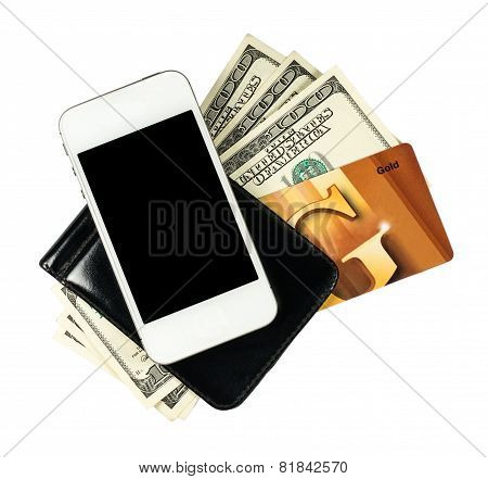 Smartphone Lying On The Purse With Banknotes Of United States And Credit Card, Isolated On A White