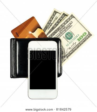 Smartphone Lying On The Purse With United States Dollars And Credit Card, Isolated On A White