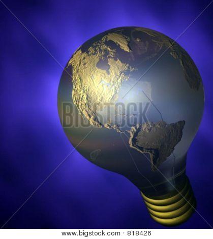 A globe lightbulb.