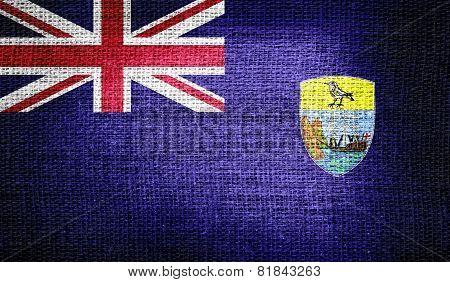 Saint Helena flag on burlap fabric