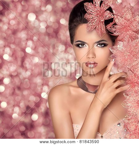 Makeup. Glamour Fashion Portrait Of Beautiful Attractive Girl With Flowers. Beauty Model Woman Face