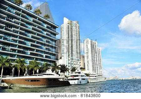 Mega Yachts in Downtown Miami