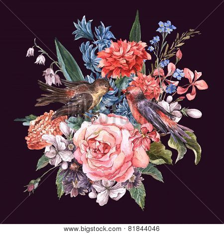 Floral Bouquet  with roses, hyacinths, birds