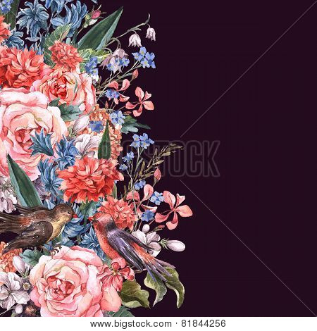 Floral Greeting Card with Blooming Roses and Birds