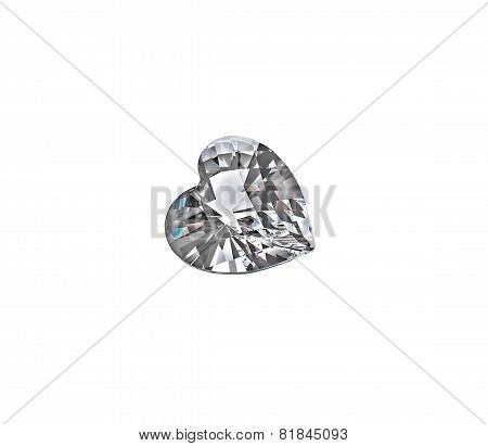 Diamond heart isolated on white background