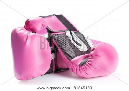 Pair Of Pink Boxing Gloves Isolated On White