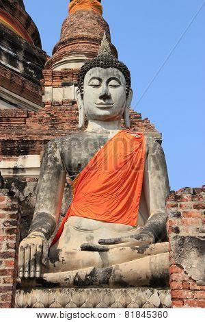 Buddha At Watyaichaimongkol Temple In Ayutthaya, Thailand