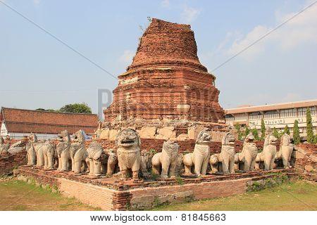 Ancient Pagoda At  Prathammamikkarat Temple