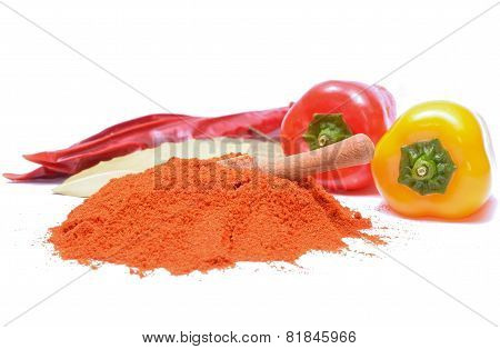 Paprika Powder And Peppers On White Background