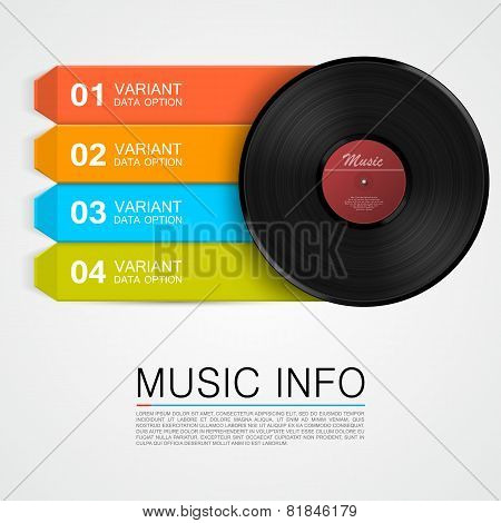 Abstract music info. Vinyl disk