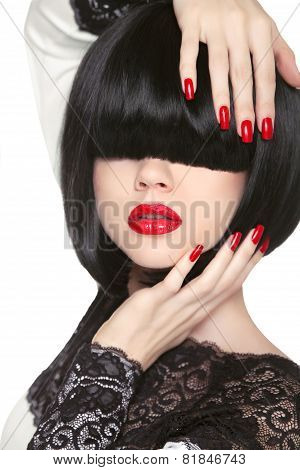 Fashion Model. Long Black Fringe. Red Sexy Lips. Bob Hairstyle. Polish Manicured Nails. Haircut. Tre