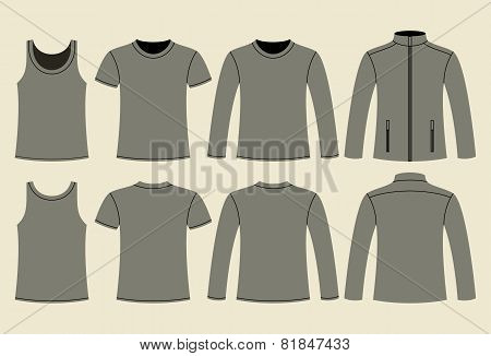 Singlet, T-shirt, Long-sleeved T-shirt And Jacket Template