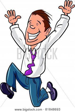 Cartoon office worker jumping for joy