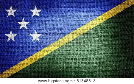 Solomon Islands flag on burlap fabric