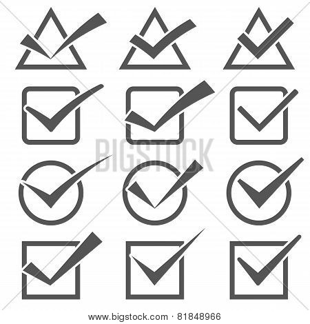 Twelve Different Grey Check Marks. Confirm Icons Set