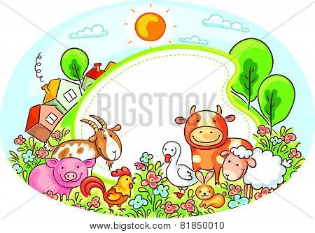 Oval Frame with Farm Animals