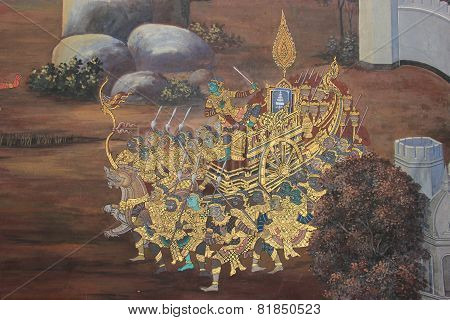 Mural Painting On Wall Of Emerald Buddha Temple