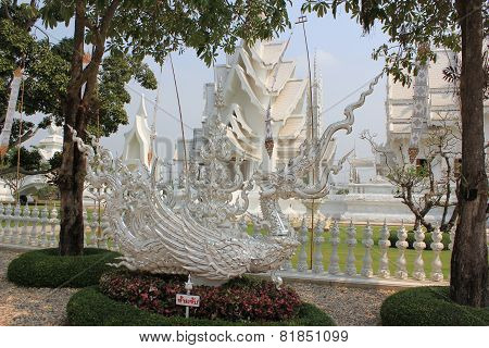Beautiful Decoration At Wat Rong Khun Or White Temple
