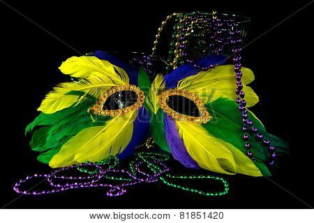 feather mask and Mardi Gras beads