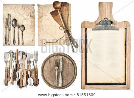 Kitchen Board, Aged Recipe Paper And Vintage Cutlery
