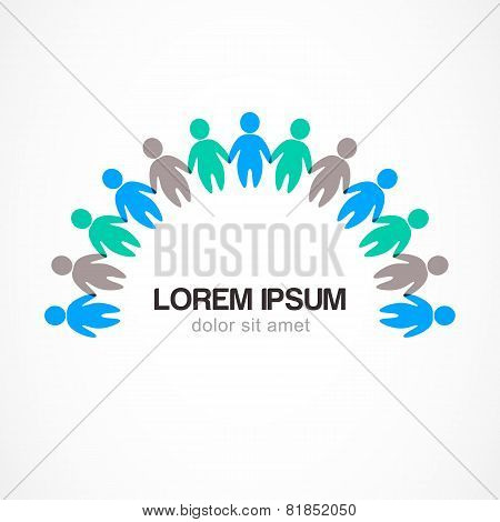 Business Background Template With Colorful People. Vector Illustration. Concept For Social Network,