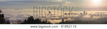 Rolling Fog Over Portland At Sunrise
