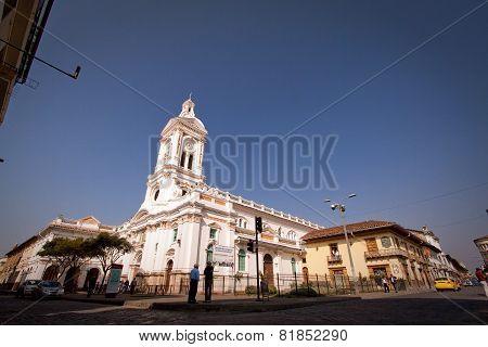 Cultural and historical landmark Iglesia de San Francisco Church in Cuenca Ecuador