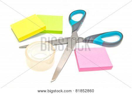 Scotch Tape, Scissors And Sticky Notes