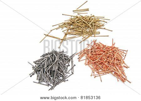 Three Set Of Nails On White