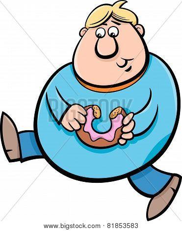Man With Donut Cartoon