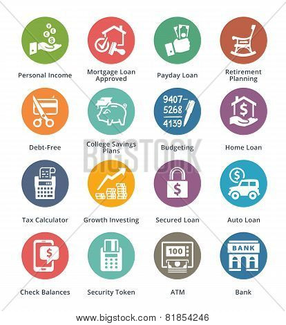 Personal & Business Finance Icons Set 2 - Colored Series