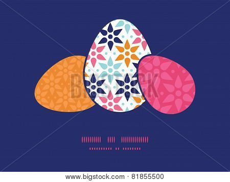 Vector abstract colorful stars three matching Easter egg sillhouettes frame card template
