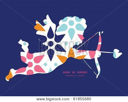 Vector abstract colorful stars shooting cupid silhouette frame pattern invitation greeting card temp