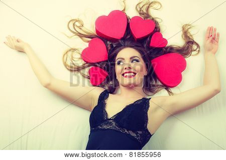 Attractive Woman With Hearts In Hair.