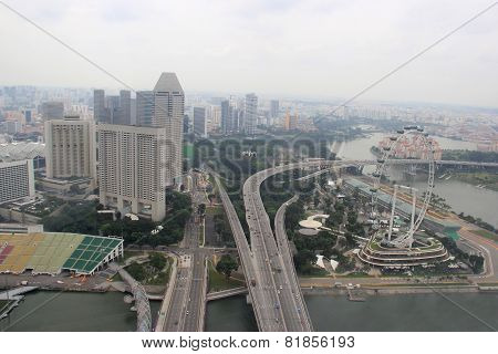 Skyview Of The Singapore Flyer And The Float At Marina Bay