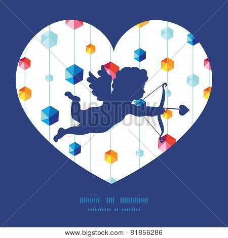 Vector abstract hanging jewels striped shooting cupid silhouette frame pattern invitation greeting c