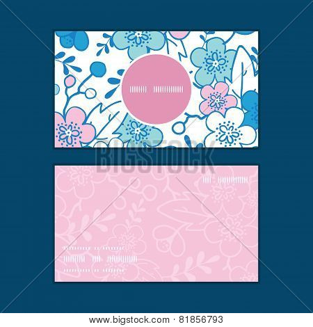 Vector blue and pink kimono blossoms vertical round frame pattern business cards set