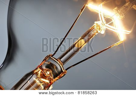 Close Up Glowing Light Bulb