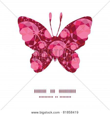 Vector ruby butterfly silhouette pattern frame