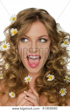 Smiling Woman With Daisies In Hair Looks Away