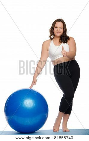 Woman Is Overweight With Blue Ball Fitness