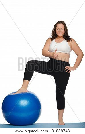 Fat Woman With Overweight And Blue Ball