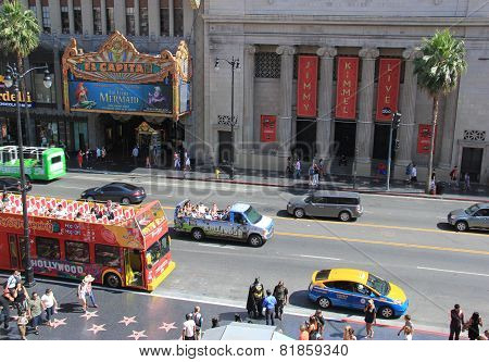 Hollywood Movie Attractions For Tourists On Hollywood Boulevard
