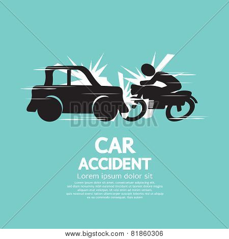 Car Crash With Motorcycle.