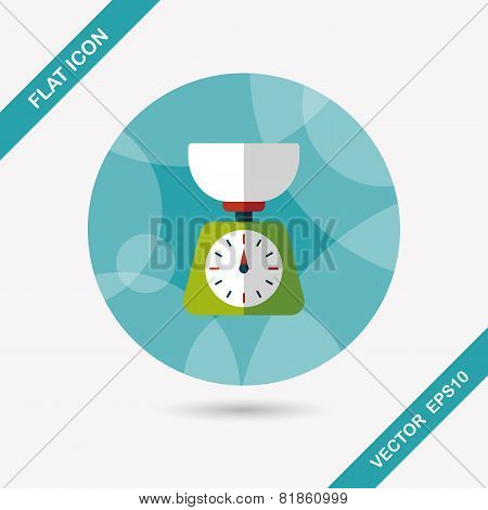Kitchenware Weight Scale Flat Icon With Long Shadow,